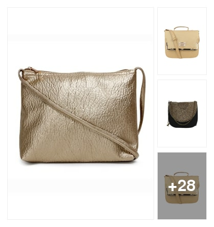 Favourite pick :- golden shade sling bag. Online shopping look by Kinki