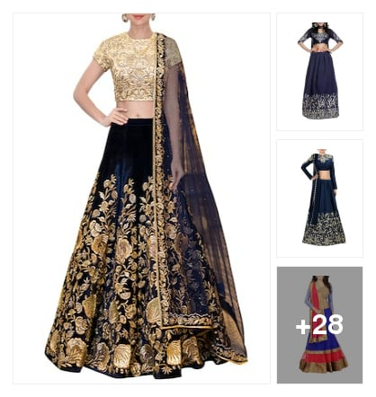 Lehengas in blue color . Online shopping look by kumar