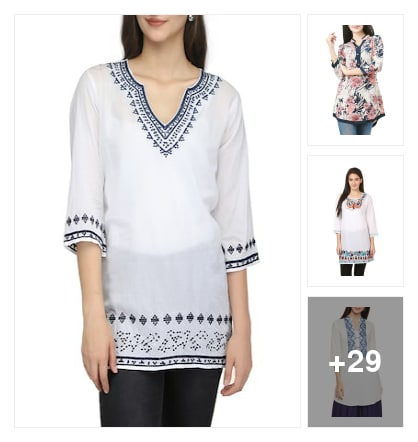 Cotton kurtis on ur budget to style with . Online shopping look by kumar