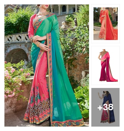 Stunning half and half sarees. Online shopping look by Priya Choudhary