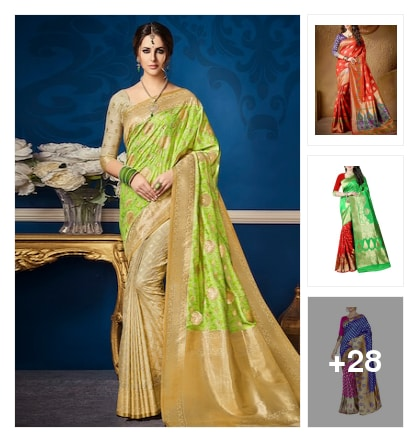 Wardrobe essential :- banarasi saree !. Online shopping look by Kinki