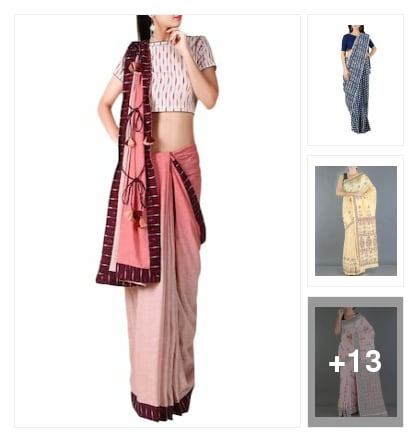 Wardrobe essential :- block printed saree. Online shopping look by Kinki