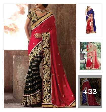 Wedding &party Wear Sarees . Online shopping look by suryagupta