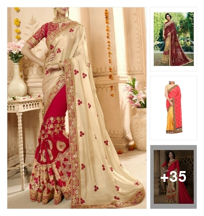 Wedding saree collection. Online shopping look by Reena