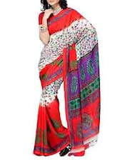 Color Block Printed Georgette Saree - Ambaji