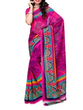 Blue Border Pink Georgette Saree - Ambaji