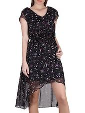Floral Print V-Neck Asymmetrical Chiffon Dress - SIERRA