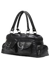 Solid Black Multi Pocket Hand Bag - Elysin