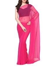 Pink Plain Chiffon Saree - AKSARA