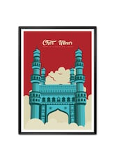Royal Charminar Mosque Monument Of India Typography Framed Poster - Lab No. 4 - The Quotography Department