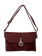 Chocolate Brown Colored, Leatherette Sling Bag - By