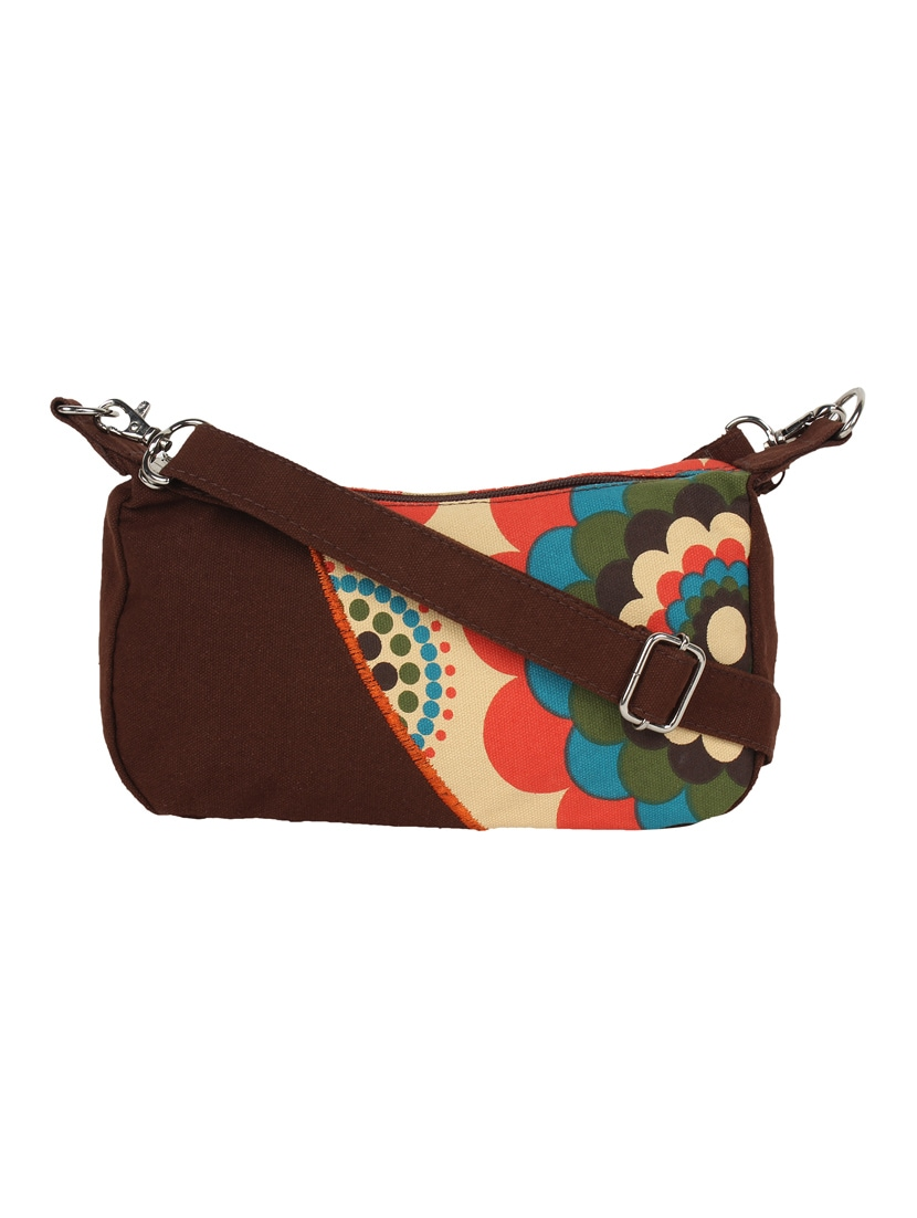brown,multi colored canvas sling bag