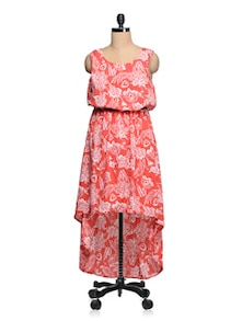 Red & White Poly-Crepe Floral Print Asymmetric Dress - Queens