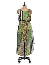 Multi Print  Georgette Asymmetric Dress - Queens