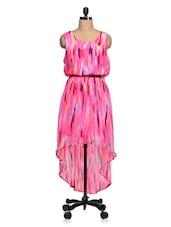 Pink-Multi Printed Chiffon Asymmetric Dress - Queens
