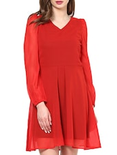 Red Bell Sleeves Dress - La Zoire