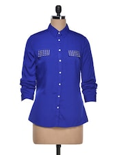 Blue Solid Shirt - AVIDDIVA