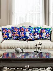 Blue Cotton Set Of 5 Cushion Cover - By