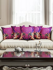 Purple Cotton Set Of 5 Cushion Cover - By