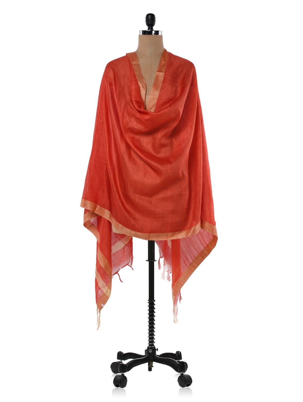Red Cotton Silk Dupatta - Inara Robes