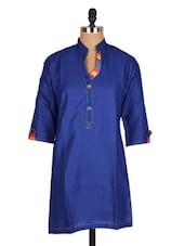 Blue Mandarin Collar Cotton Kurti - Sale Mantra