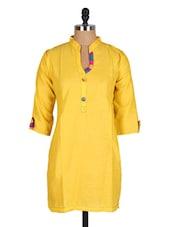 Yellow Mandarin Collar Cotton Kurti - Sale Mantra