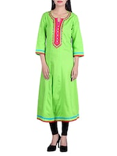 Parrot Green Cotton Long  Kurta - By