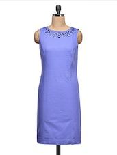 Stone Embellished Neck Sleeveless Dress - Ozel Studio