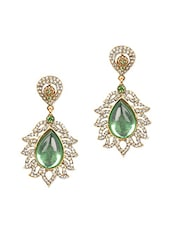 Green Crystal Studded Drop Earring - Onlinemaniya
