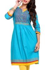Blue Quarter Sleeves Kurta - Mytri