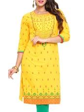 Yellow Printed Cotton Kurta - Mytri