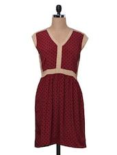 Maroon Polka Dots Poly Crepe Dress - MOTIF