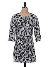 Black & White Printed Polyester Dress - MOTIF