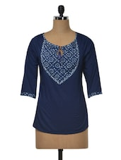 Navy Blue Floral Printed Cotton Dobby Top - MOTIF