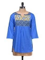 Blue Printed Gathers Cotton Top - MOTIF