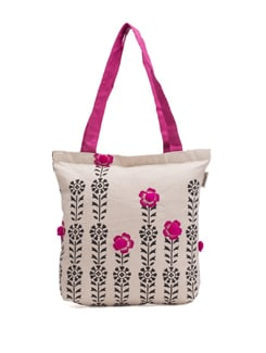 White Tote With Black Floral Motif And Pink Flowers - Pick Pocket