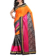 Multi Colored Poly Silk Printed  Saree - By