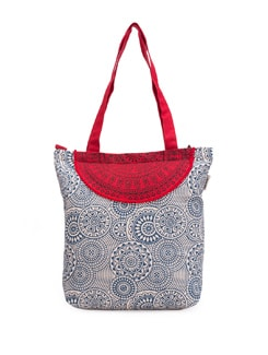 White Printed Bag With A Red Semi-circle Patch - Pick Pocket