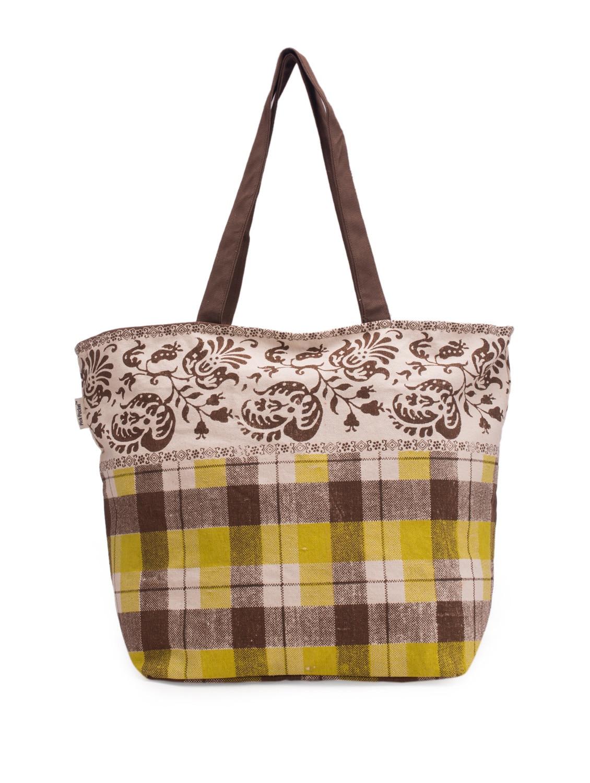 Green And Brown Checks Print Handbag - Pick Pocket