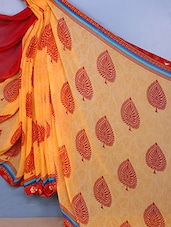 Leaf Printed Georgette Saree - Fabdeal