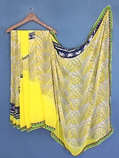 Yellow Printed Georgette Saree - Fabdeal