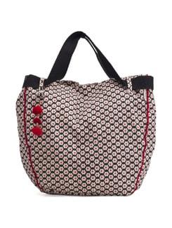 Black Floral Handbag With Red Pompom Tassels - Pick Pocket