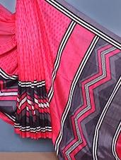Chevron Printed Bhagalpuri Silk Saree - Fabdeal
