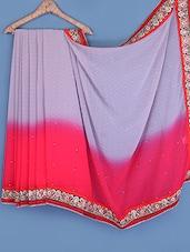 Embroidered Bordered Chiffon Saree - Fabdeal