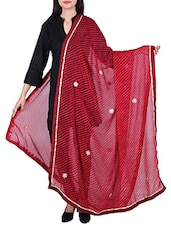 Lehariya Gota Border Dupatta With Gota Patti Work - By