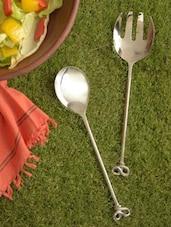 Stylish Stainless Steel Salad Server Set - Sage Koncpt