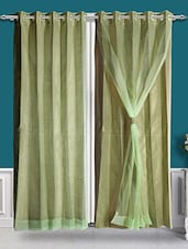 2-in-1 Poly Dupion Light Olive Eyelet Door Curtain - By