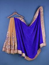 Multicolour Chiffon & Velvet Paisley Embroidered Saree - Suchi Fashion