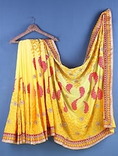 Yellow Chiffon Floral Embroidered Saree - Suchi Fashion