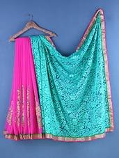 Multicolour Chiffon & Brasso Floral Embroidered Saree - Suchi Fashion